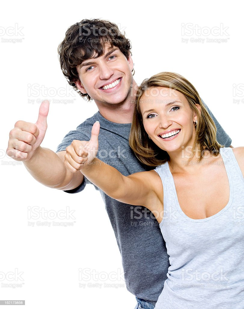 smiling people with thumbs-up gesture royalty-free stock photo