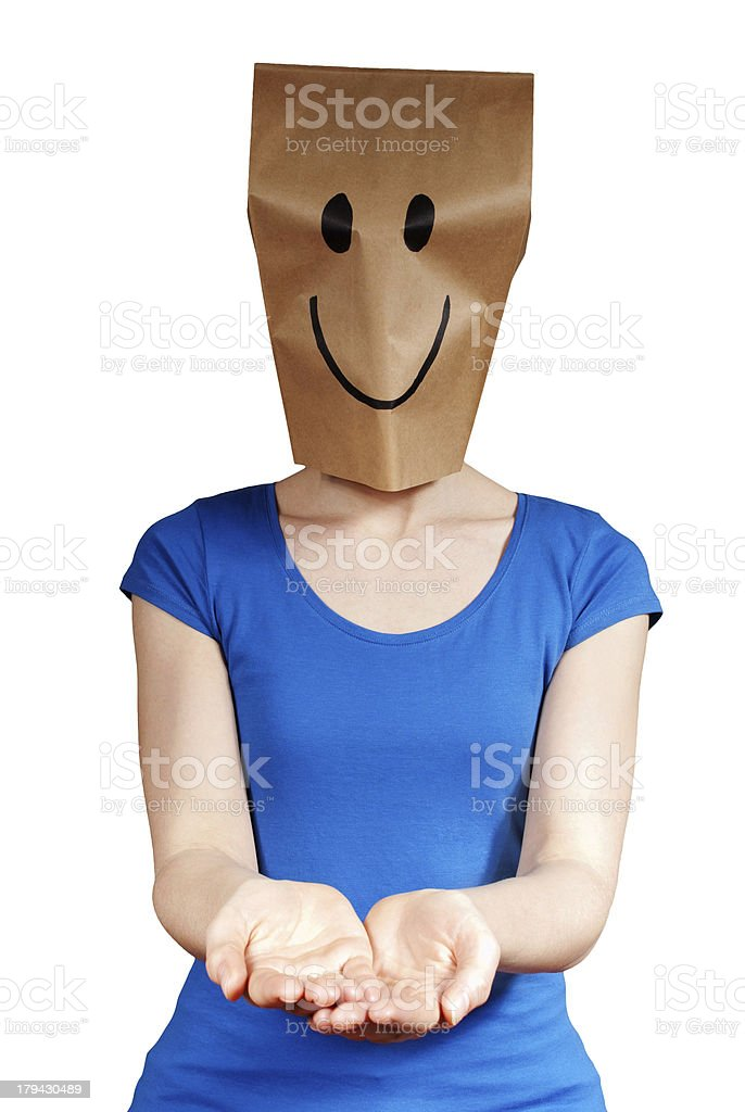 smiling person holding copyspace royalty-free stock photo