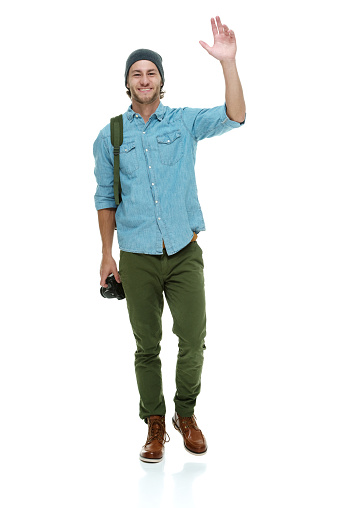 Smiling Photographer Waving Hand Stock Photo - Download ...