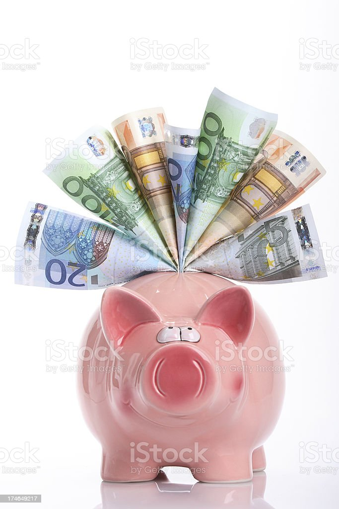 Smiling piggy bank stock photo