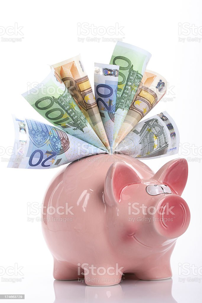 Smiling piggy bank royalty-free stock photo