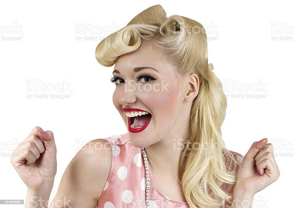 Smiling pin up blonde woman stock photo