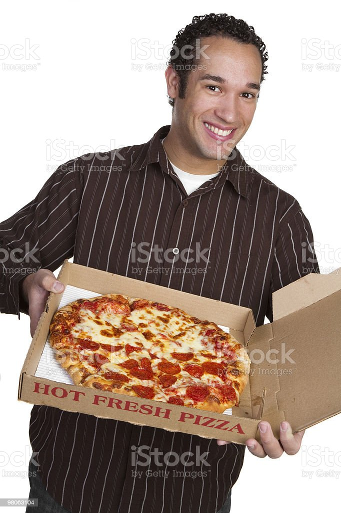 Smiling Pizza Man royalty-free stock photo