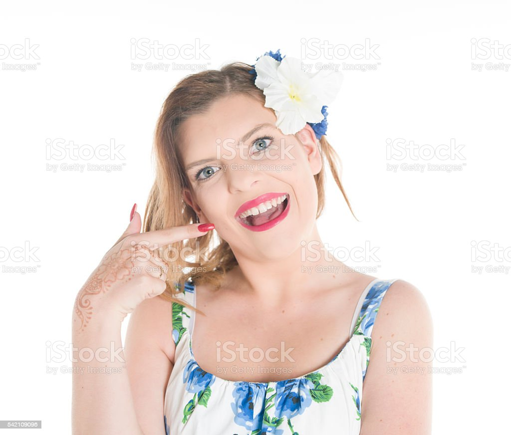 smiling pointing stock photo