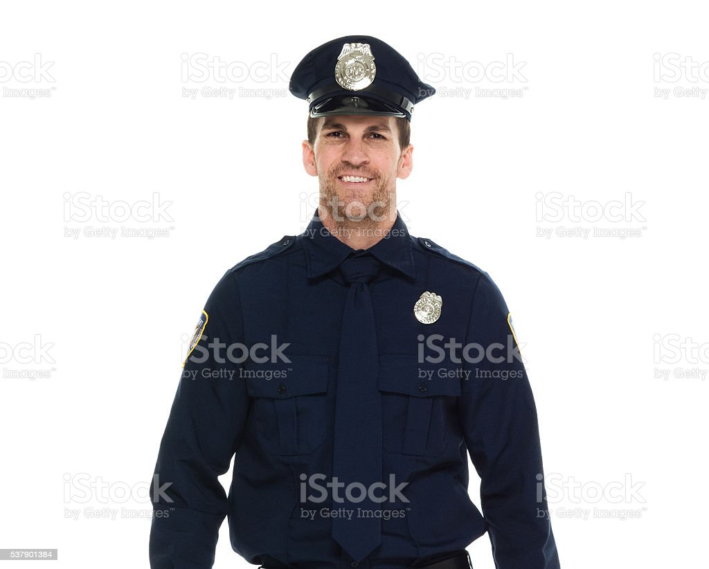 Smiling police looking at camera stock photo