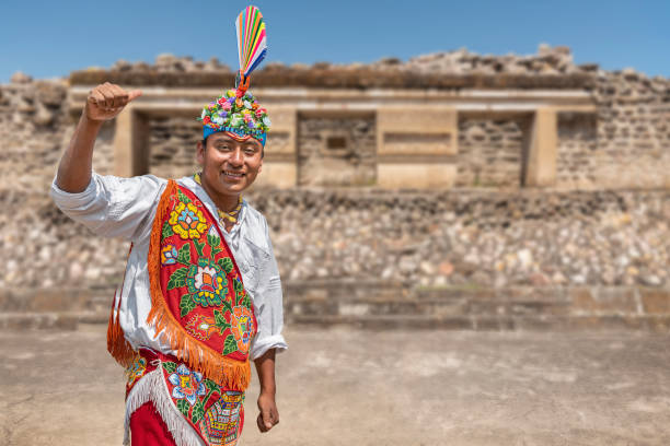 Smiling portrait of a Mexican native performer. A flying man before performing the