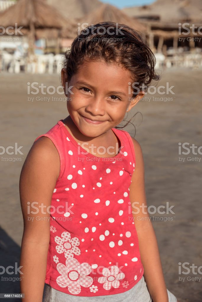 Smiling portrait of cute girl stock photo