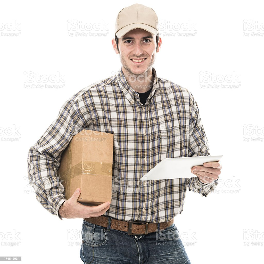 Smiling postman happiness with digital tablet royalty-free stock photo