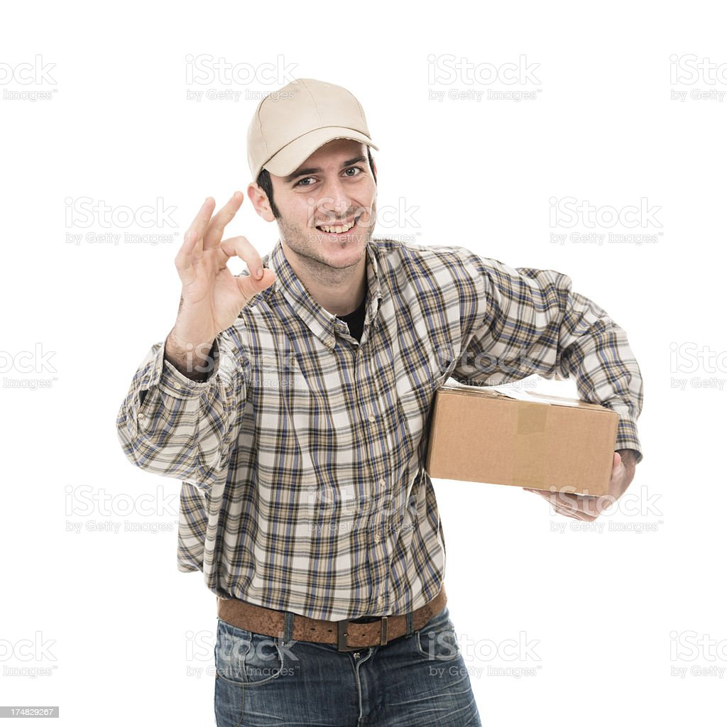 Smiling postman with ok sign royalty-free stock photo