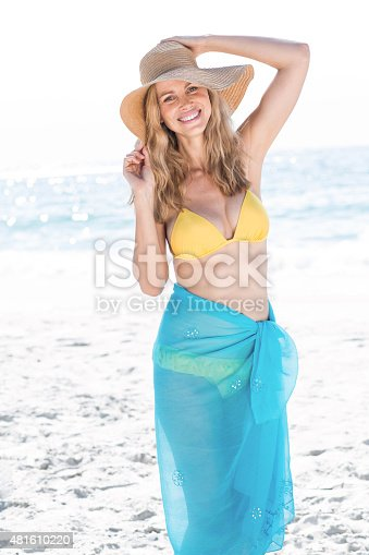 istock Smiling pretty blonde in bikini looking at camera 481610220