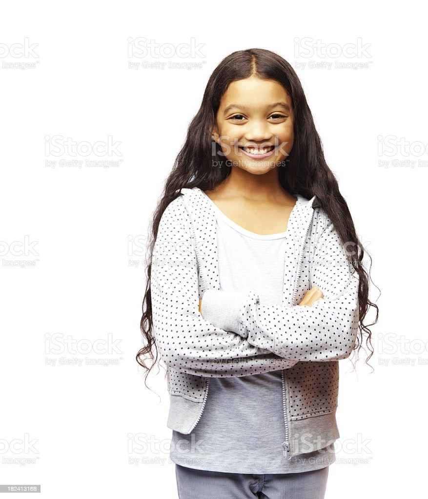 Smiling pretty girl isolated on white background stock photo