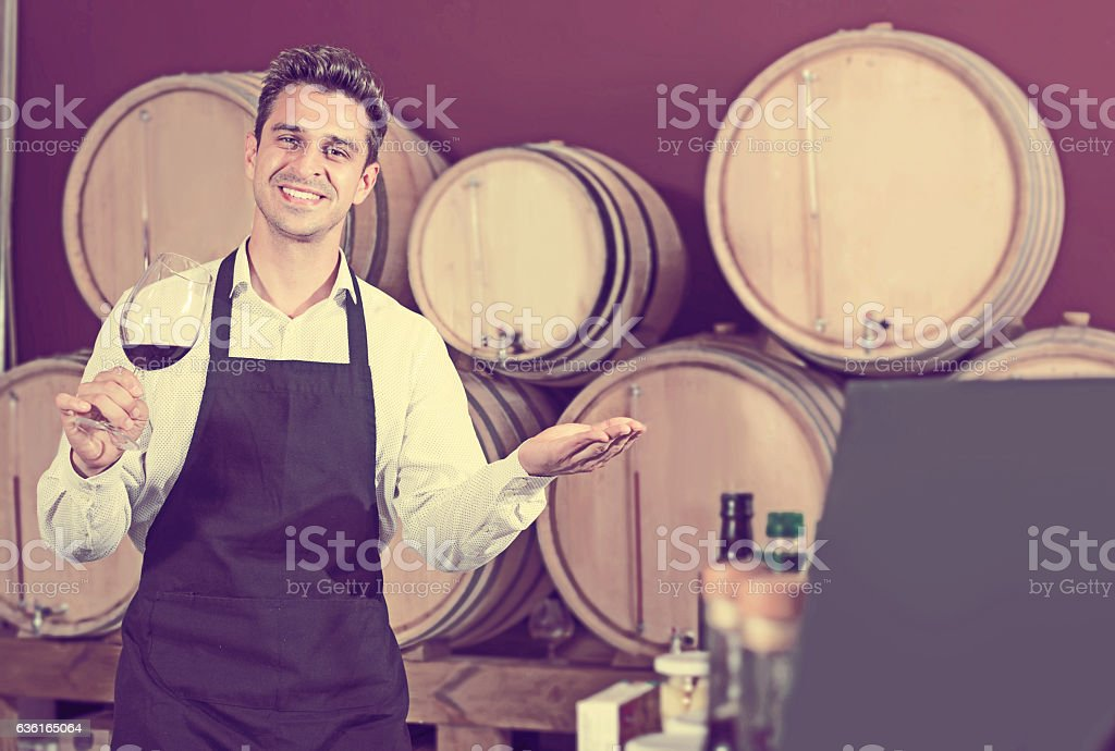Smiling professional man seller in apron standing in shop stock photo
