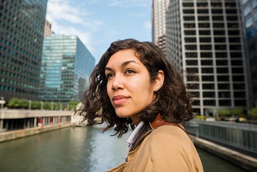 Smiling Puerto Rican Millennial Woman on Downtown Chicago Loop Bridge