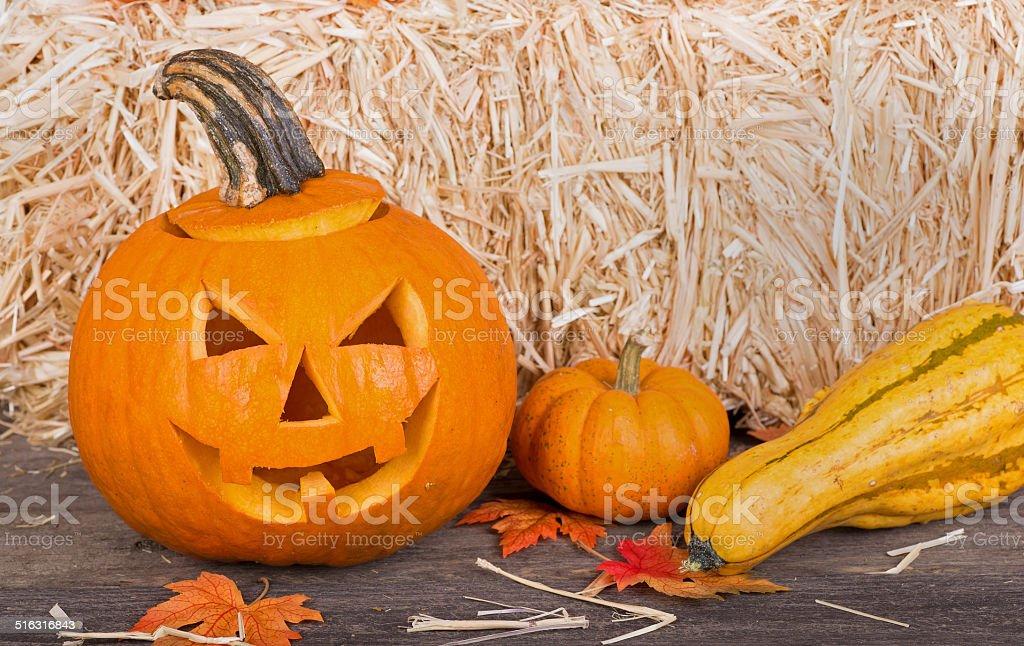 Smiling Pumpkin stock photo