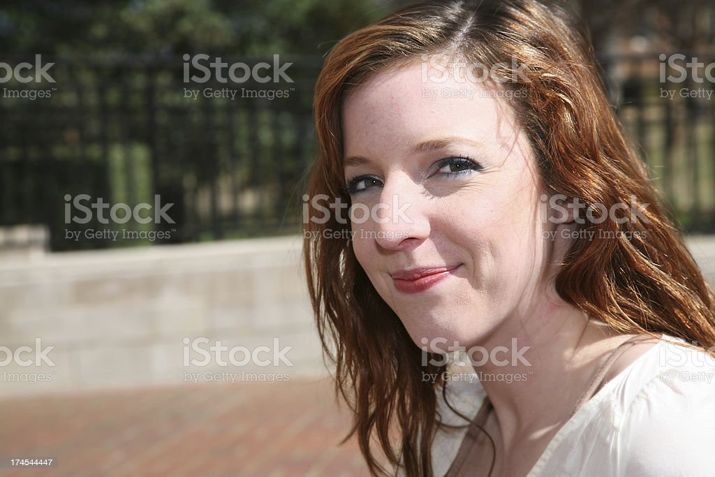 Smiling Red Head College Student stock photo