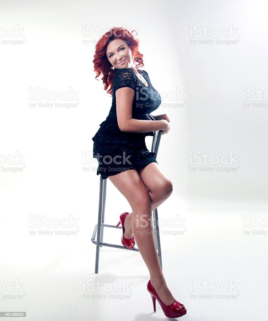 Beautiful Redhead Model Posing In Studio Shot Stock Image