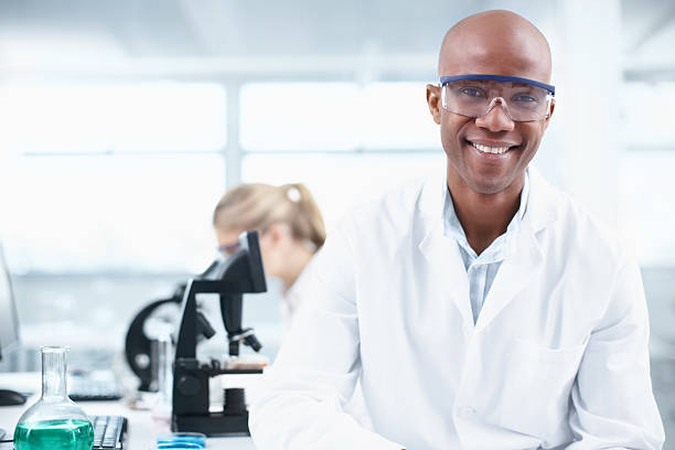 Smiling researcher stock photo