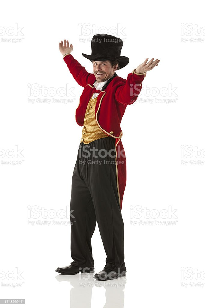 Smiling ringmaster performing stock photo