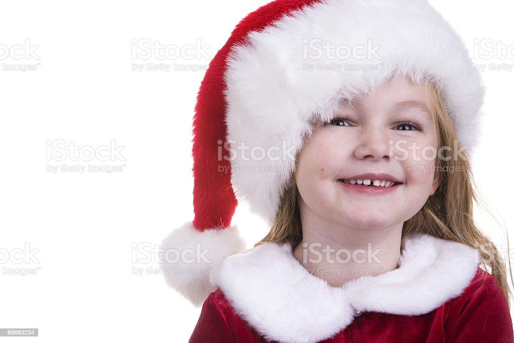 Niña sonriente Santa foto de stock libre de derechos