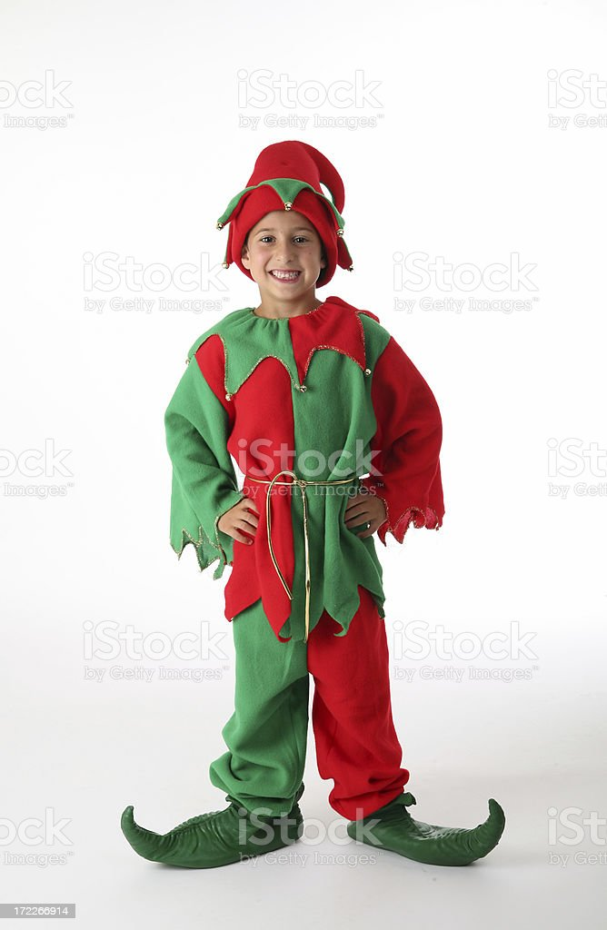 smiling santa helper stock photo
