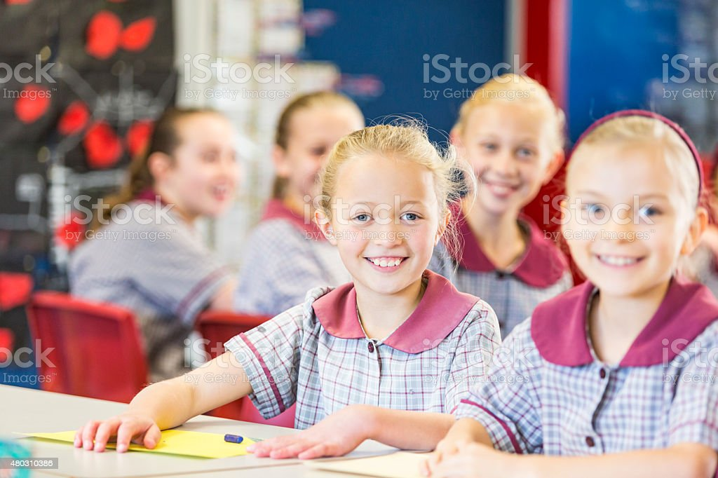 Smiling School Girls Doing Work in the Classroom stock photo