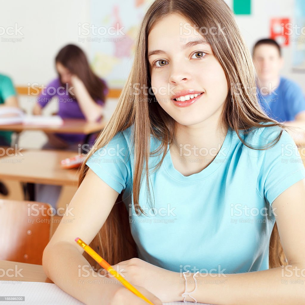 Smiling schoolgirl in the classroom, looking at camera. royalty-free stock photo