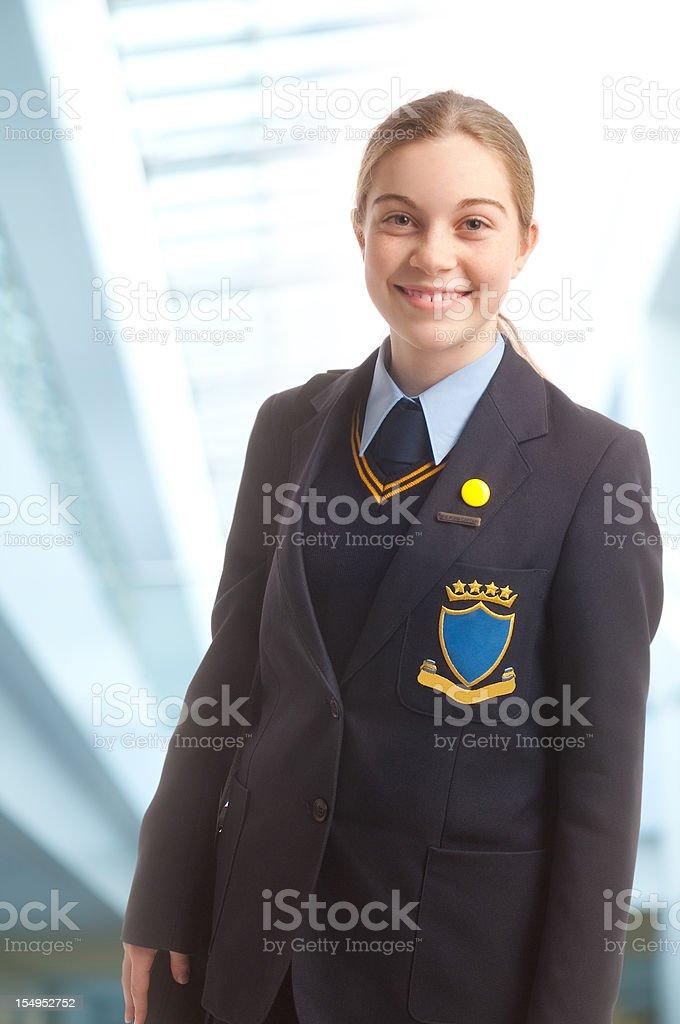 smiling schoolgirl stock photo