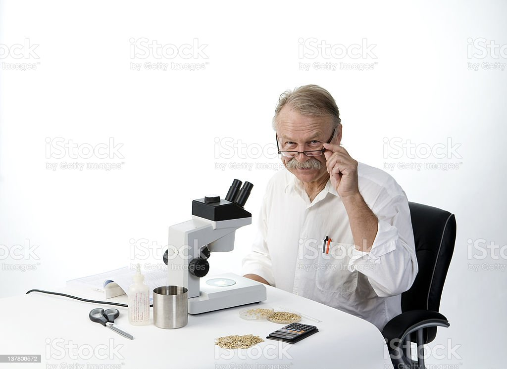 Smiling scientist with glasses royalty-free stock photo