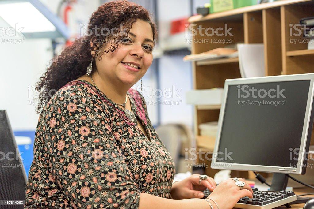 Smiling secretary stock photo