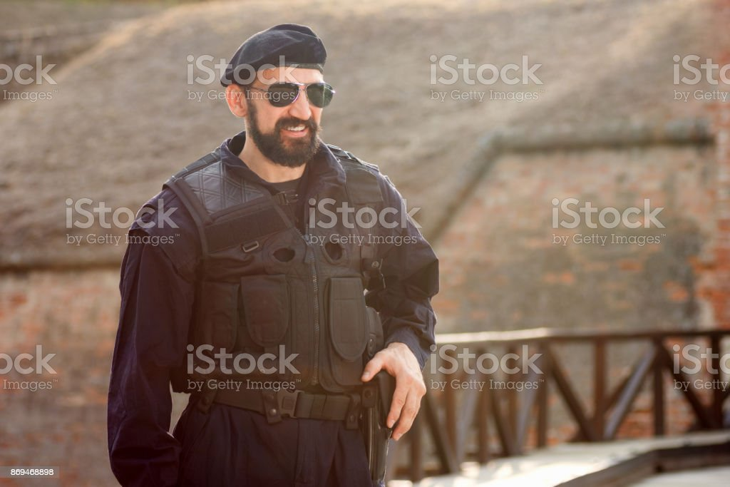smiling security man stock photo