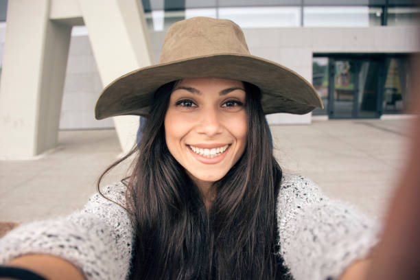 smiling selfie - vlogger stock photos and pictures