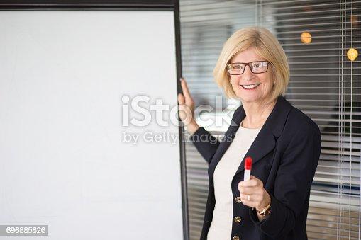 istock Smiling Senior Business Lady Addressing Audience 696885826