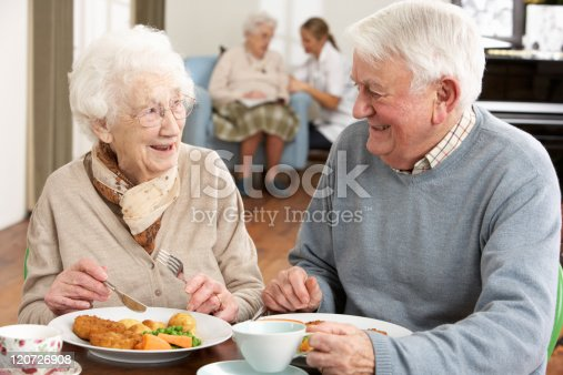 istock Smiling senior couple eating meal in care home 120726908