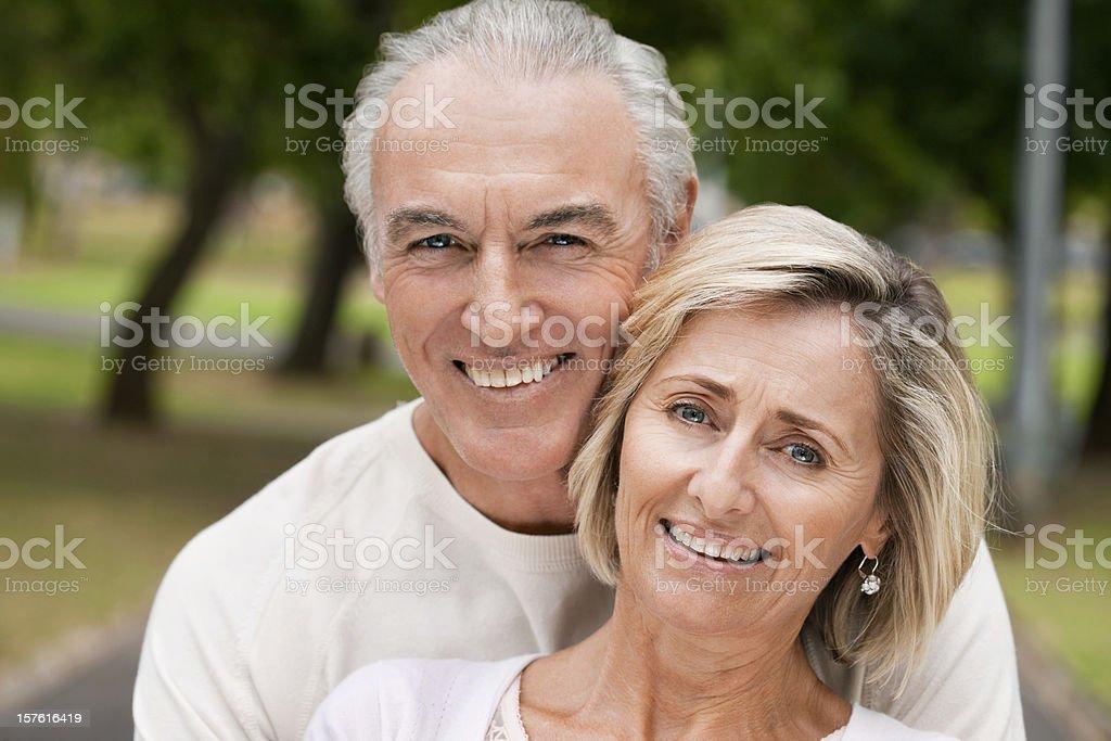 Smiling Senior Couple In Park royalty-free stock photo
