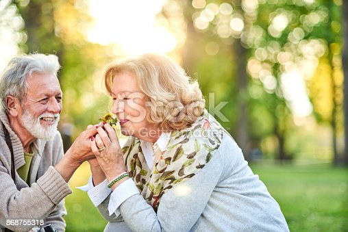 510491454istockphoto Smiling senior man giving a flower to his wife. 868755318