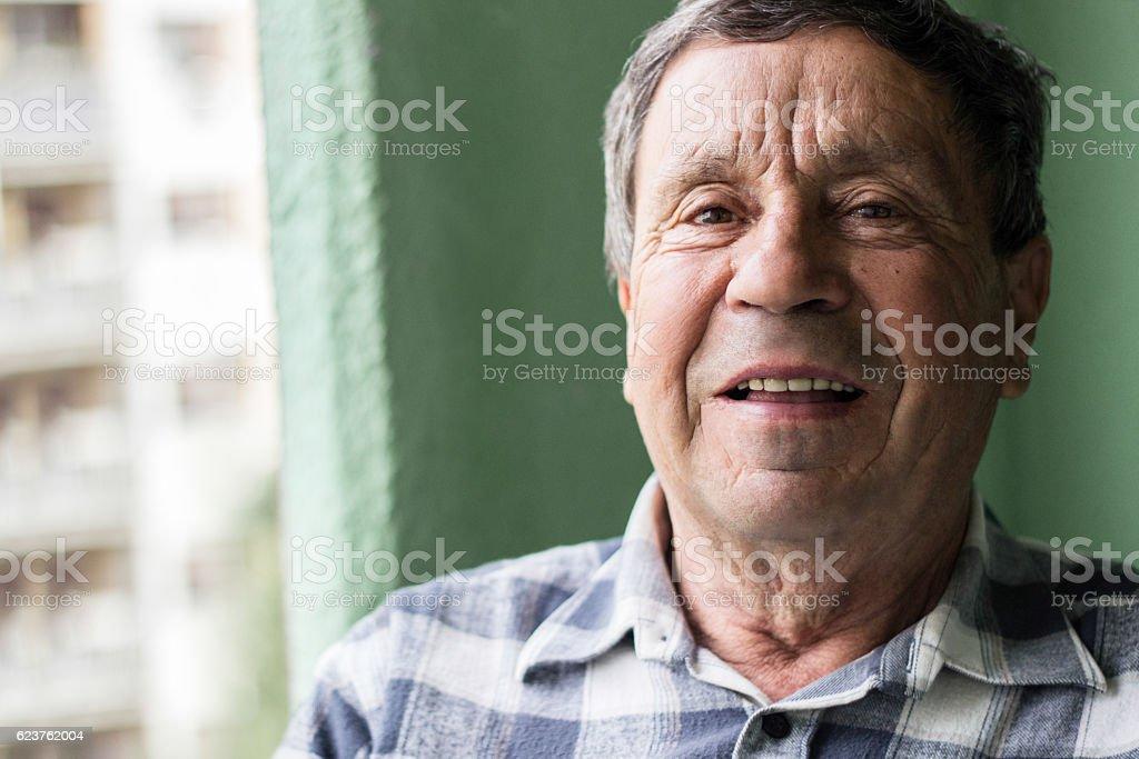 Smiling senior man stock photo