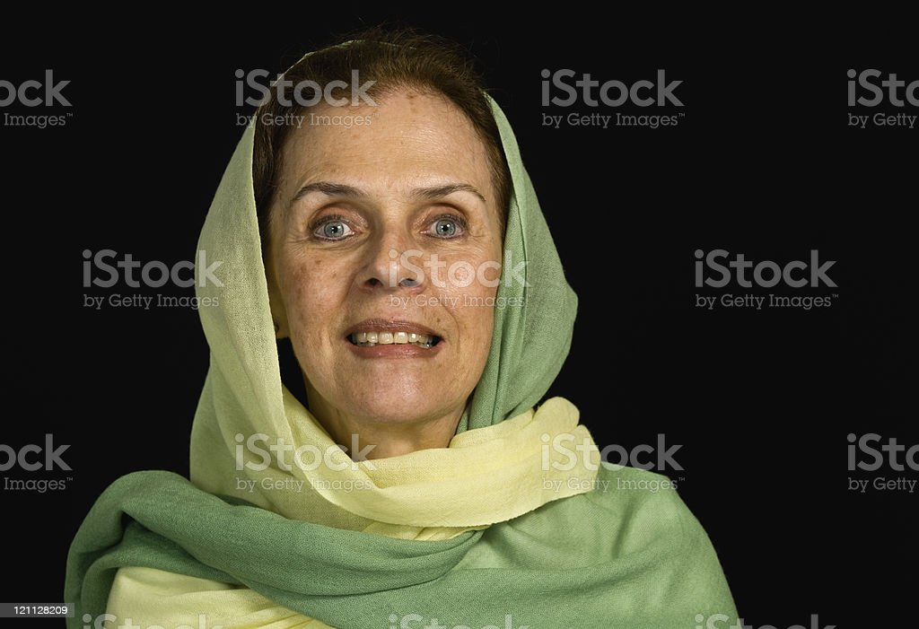 Smiling senior muslim woman stock photo