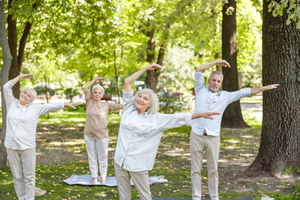 Smiling senior people practicing chi kung in the park stock photo