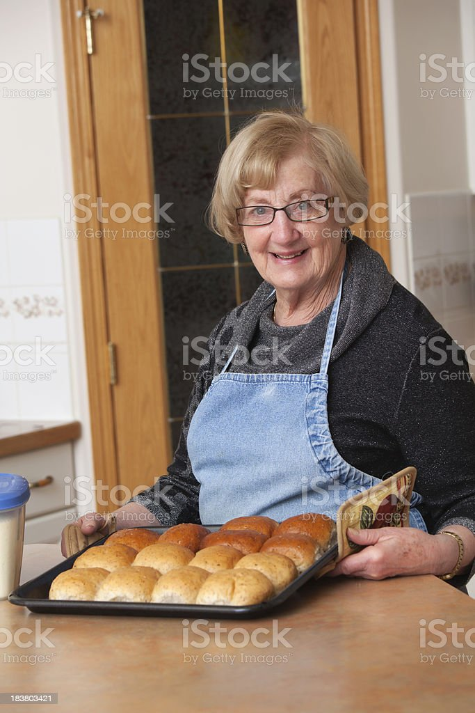 Smiling Senior With Baking stock photo