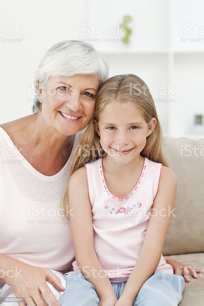 Smiling Senior Woman And Young Girl royalty-free stock photo