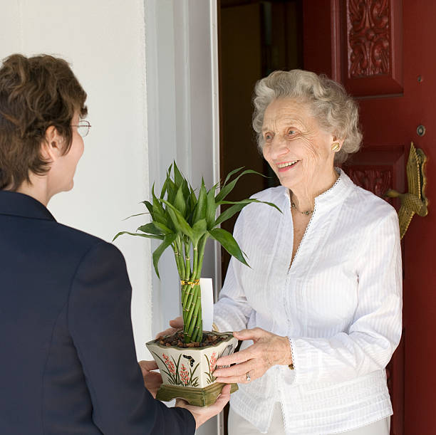 Smiling senior woman receiving gift stock photo