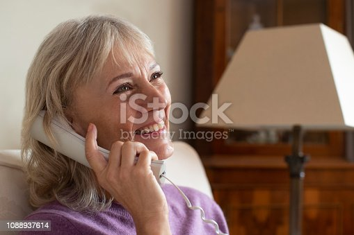 Smiling Senior Woman Using Phone At Home