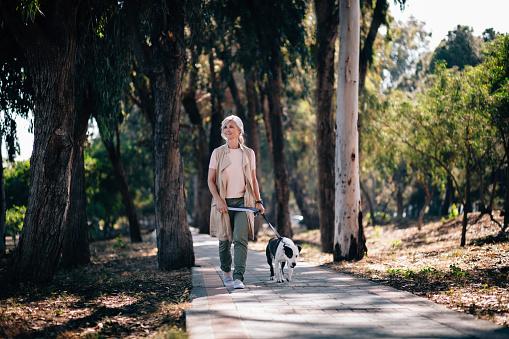 Smiling senior woman walking with pet dog in park