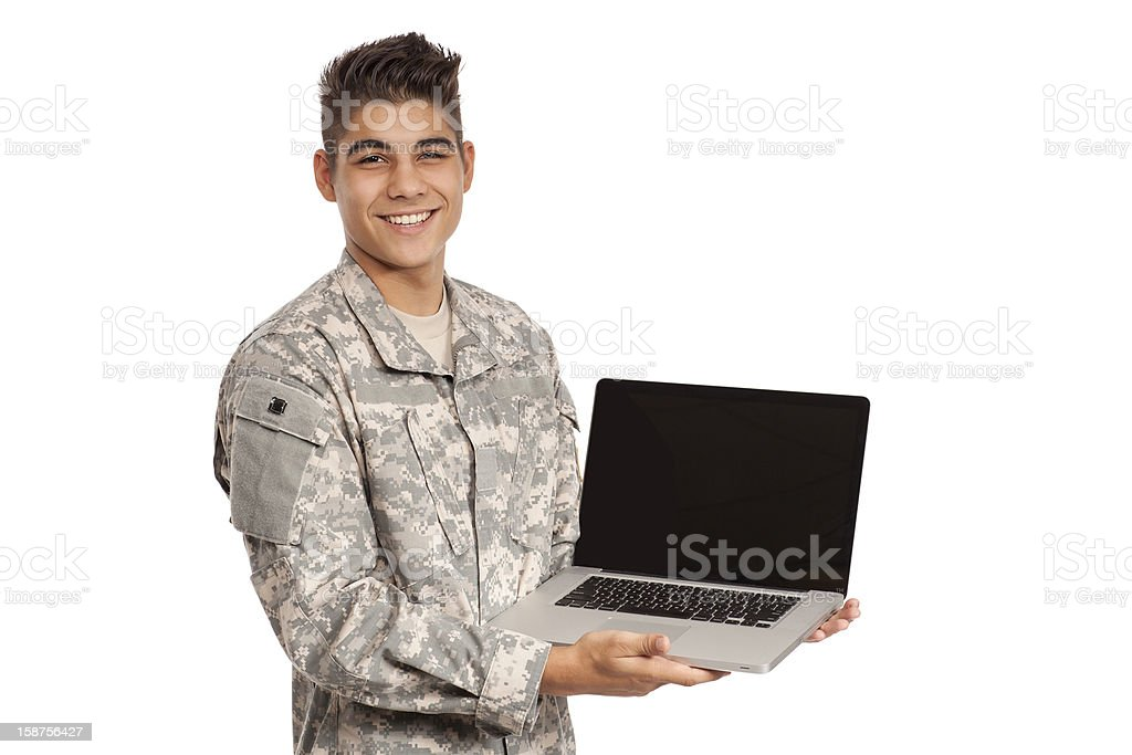 Smiling serviceman showing his laptop royalty-free stock photo