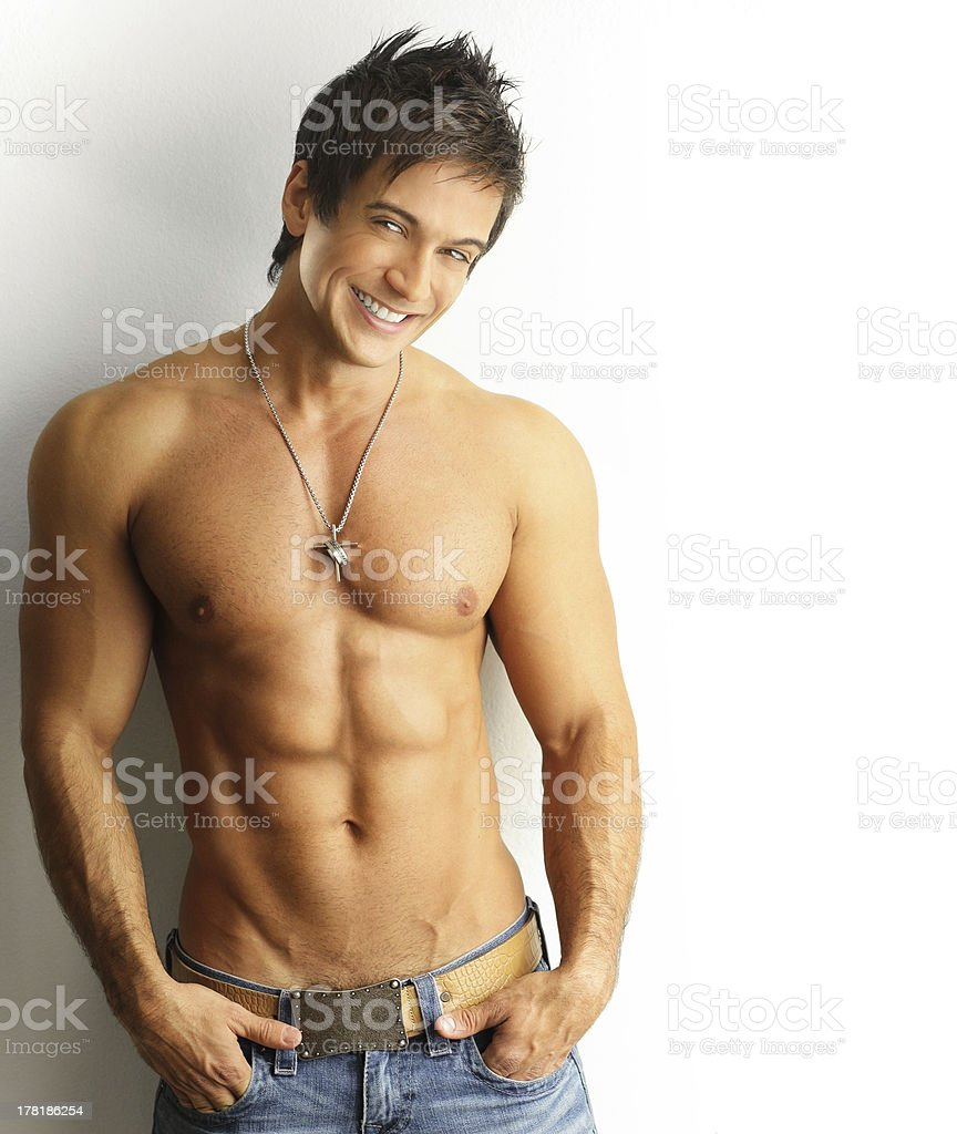 Smiling sexy male royalty-free stock photo