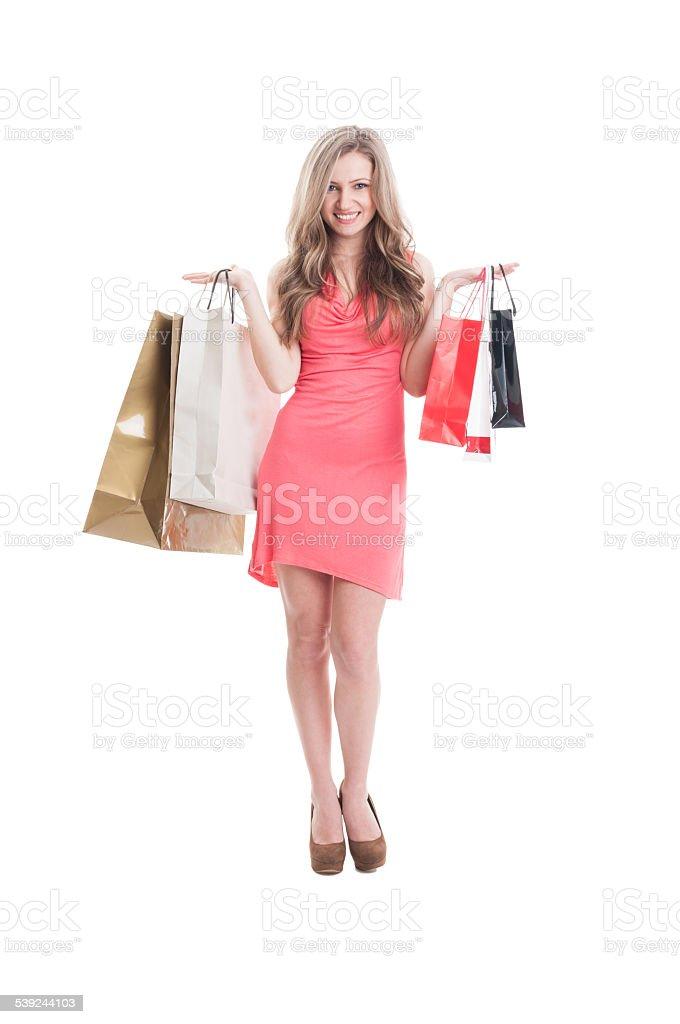 Smiling shopping lady royalty-free stock photo