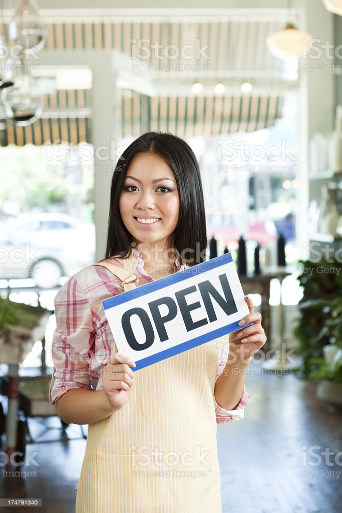 Smiling Small Business Retail Store Owner with OPEN Sign Vt royalty-free stock photo