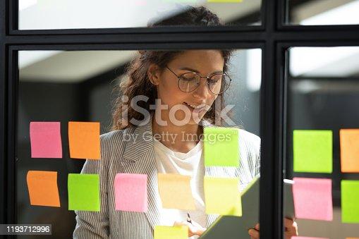 1147760705 istock photo Smiling smart businesswoman using kanban agile scrum method glass board. 1193712996