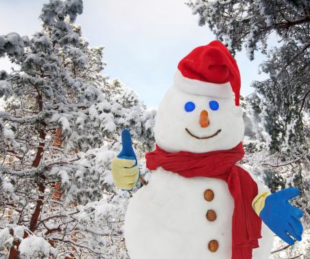 Smiling Snowman thumb up.