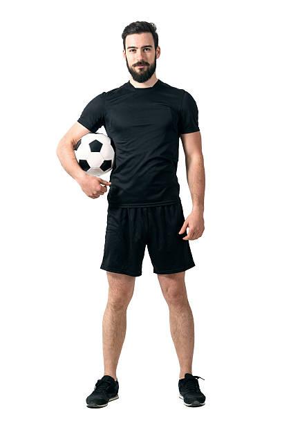 미소 축구 또는 풋살 플레이어 안전띠를 블랙힐스 스포츠웨어 쥠 ball 스톡 사진